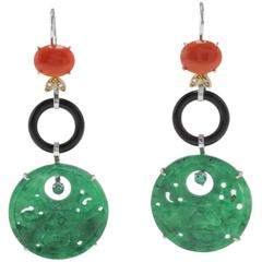 Diamonds Emeralds Onyx Gemstones Coral Level-Back Gold Earrings