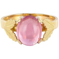 1960s Pink Tourmaline 18 Carat Gold Leaves Ring