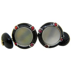 Natural Ruby Onyx White Mother-of-Pearl Enamel 18 Carat Gold Cufflinks