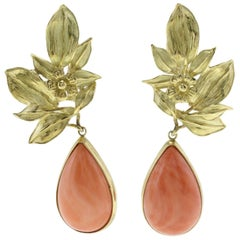 Orange Coral Drops, 18K Yellow Gold Leaves Shape, Drop Movable Earrings