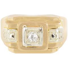1950s French Diamond Yellow Gold Tank Ring