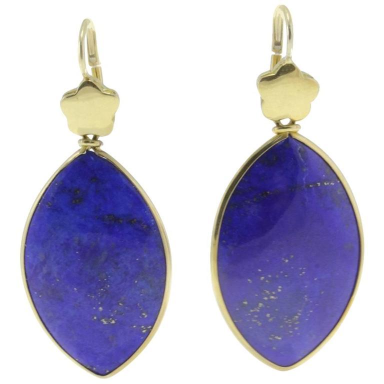 Lapis 18 Karat Gold Dangle Earrings