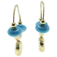 Turquoise 18 kt Gold Hoop Earrings