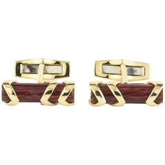 Garrard Enamel & Gold Log Cufflinks