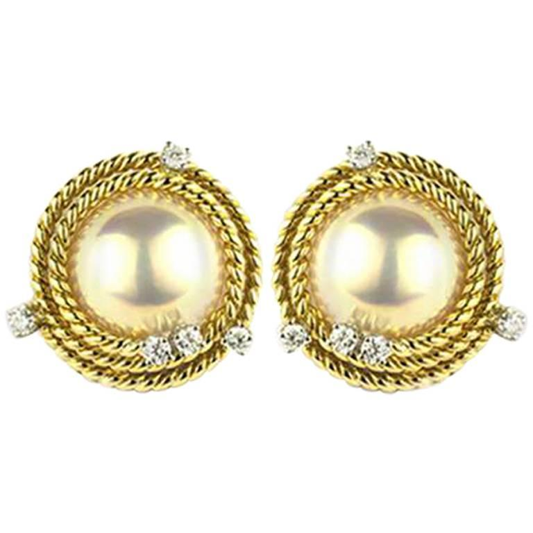 Classic Tiffany & Co. Schlumberger Diamond and Pearl Earrings For Sale