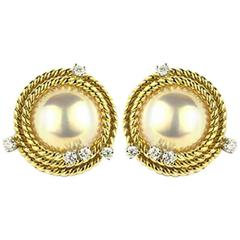 Classic Tiffany & Co. Schlumberger Diamond and Pearl Earrings