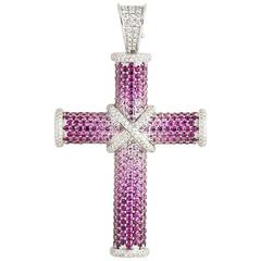 Theo Fennell Diamond and Pink Sapphire Cross Pendant 1.61ct