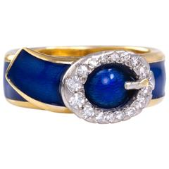 Kutchinsky, London, Gold, Diamond and Blue Enamel Buckle Ring