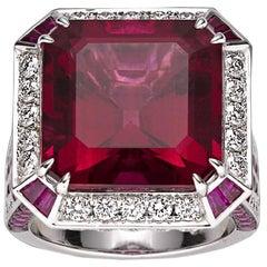 16.12 Carat Rubellite Diamond Ring
