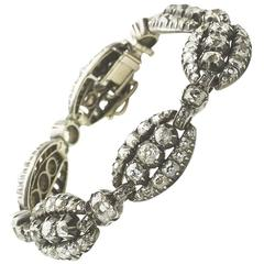 Victorian Antique Diamond 9.00 Carat Silver Set Gold Backed Bracelet