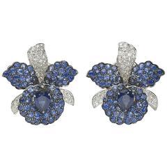 Sapphire & Diamond Orchid Earrings
