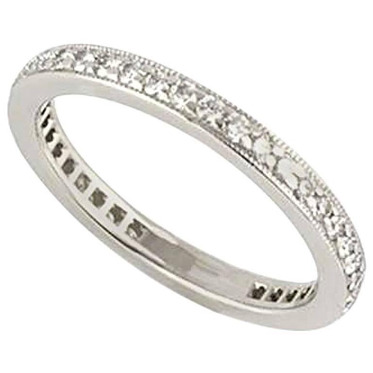 Tiffany Co Platinum Lucida 2mm Wedding Band Ring Sz 8: Tiffany And Co. Legacy Full Diamond Eternity Ring In