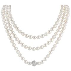 Stunning Chanel Pearl Diamond Necklace