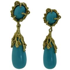 Vintage Natural Turquoise and Yellow Gold Drop Earrings