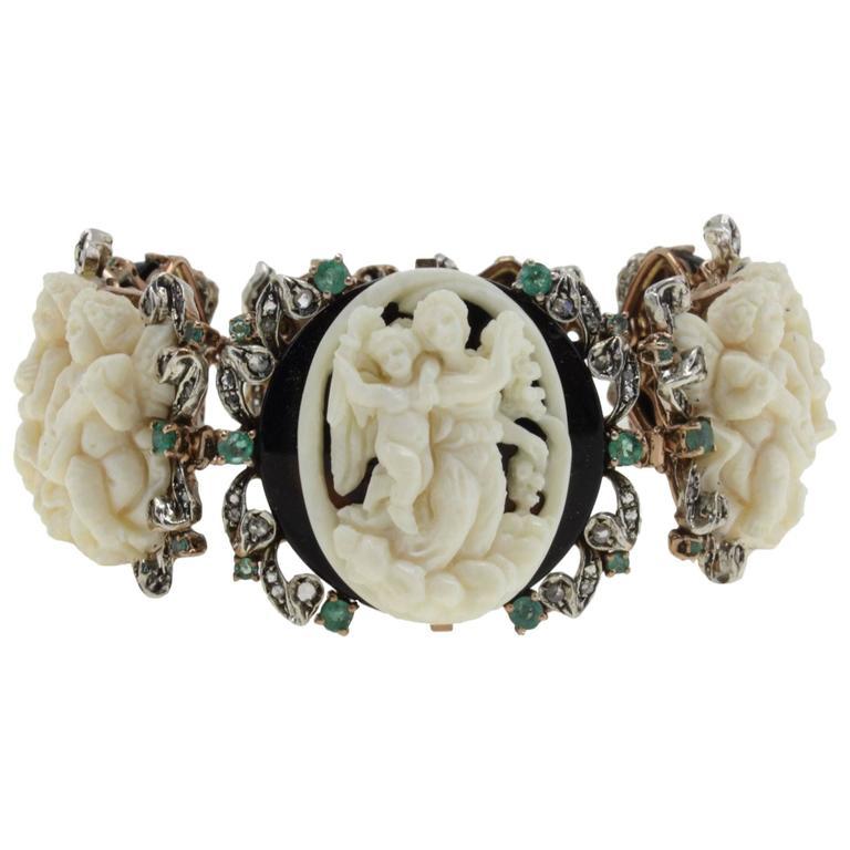 Diamonds Emeralds Onyx Hard Stones Link Gold and Silver Bracelet