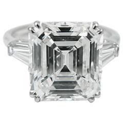 Harry Winston 4.01 Carat Emerald Cut Diamond Platinum Ring GIA