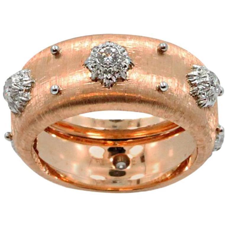 Rose Gold Buccellati Diamond Ring Band