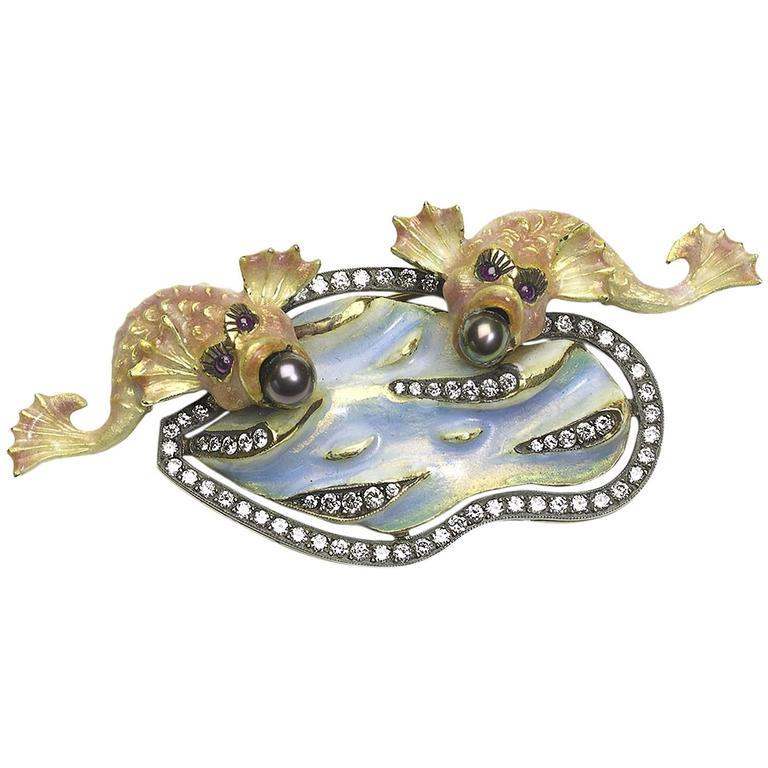 Enamel, Pearl & Diamond Fish Brooch