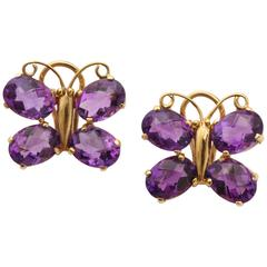 Charming Amethyst Gold Butterfly Earrings