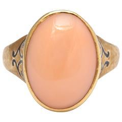 Vintage Angel Skin Coral and Enamel Ring