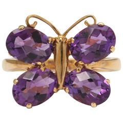 Charming Amethyst Gold Butterfly Ring