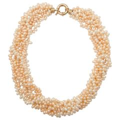 Peach and White Oval Pearl Torsade Necklace