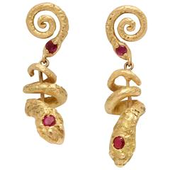 Stunning Ruby Pearl Gold Snake Earrings