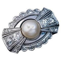Art Deco Bow Motif Pearl Diamond Ring