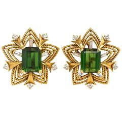 1960s Cartier Tourmaline  Diamond  Gold Clip Earrings
