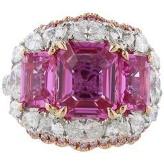 5.34 Carat Unheated Pink Sapphire Diamond Cluster Ring