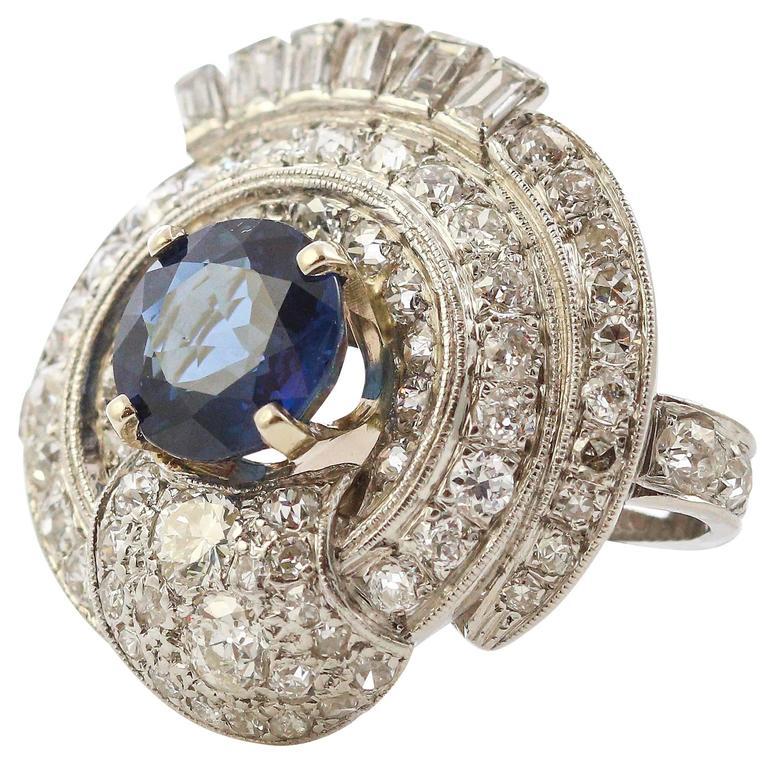 1950's Retro Platinum Blue Sapphire and Diamond Ring