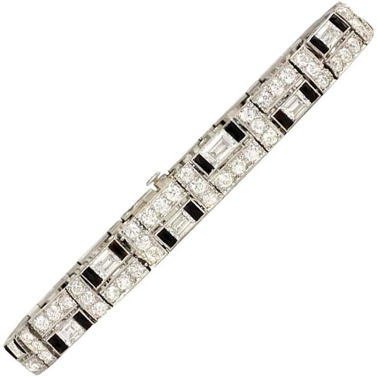 Art Deco Udall & Ballou Diamond and Onyx Bracelet