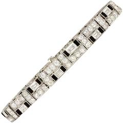Art Deco Udall & Ballou Diamond and Onyx Bracelet