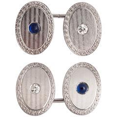 Art Deco Diamond and Cabochon Sapphire Cufflinks in Platinum