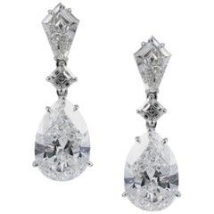 GIA Certified E VS 5 Carat each Pear Shape Diamond Drop Earrings by J Birnbach