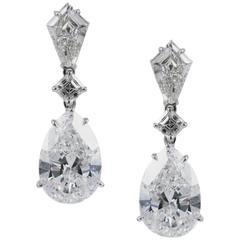 GIA Certified 5 Carat Pear Shape Diamond Drop Earrings