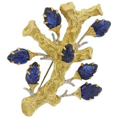 Buccellati Gold Carved Sapphire Brooch Pin