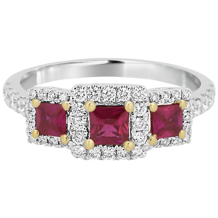 Three Stone Ruby Diamond Gold Ring