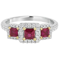 Three Stone Ruby Square White Diamond Halo Two Color Gold Fashion Cocktail Ring