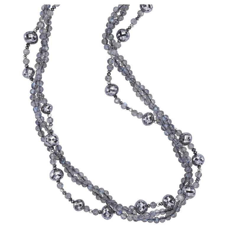 Naomi Sarna Labradorite and Black Diamond Bead Necklace For Sale