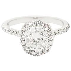 Ferrucci GIA Certified 1.20 Carat Cushion Cut Diamond Platinum Ring