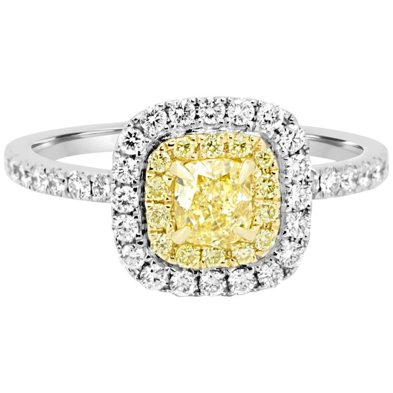 Natural Fancy Yellow and White Diamond Double Halo Bridal Ring