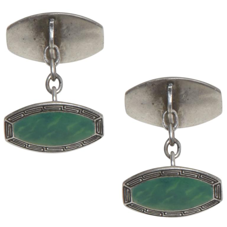 Sterling Silver and Enamel Art Deco Cufflinks For Sale