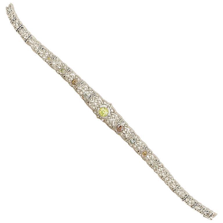 Unique Art Deco Natural Multi Color Diamond Bracelet