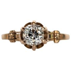 1880s Victorian Gold .87 Carat Antique Cushion Cut Diamond Engagement Ring