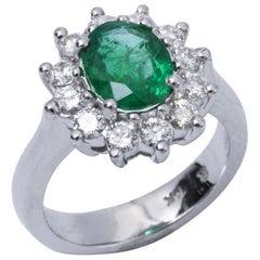 Emerald Ring with Diamonds Halo 14 Karat White Gold