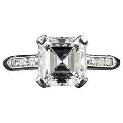 1.95 Carat Asscher Cut Diamond Platinum Ring GIA F VS1