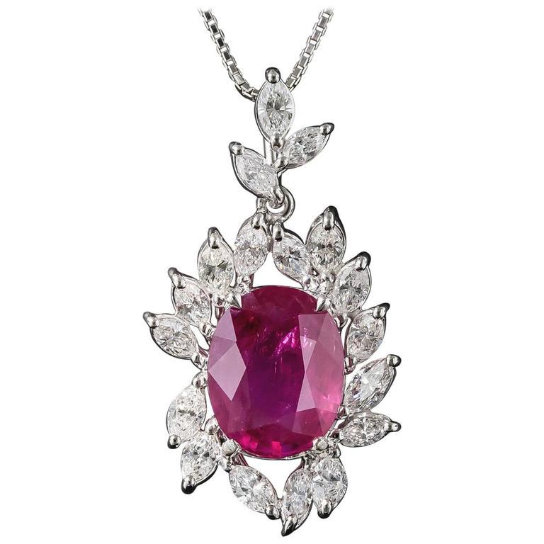 7.71 Carat Burma Ruby Platinum Diamond Pendant For Sale