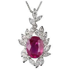 7.71 Carat Burma Ruby Platinum Diamond Pendant