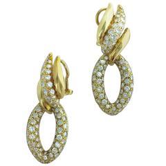 1970s Diamond and Yellow Gold Ear Pendants